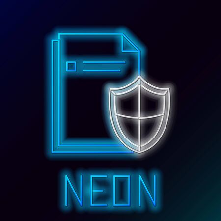 Blue glowing neon line Document protection concept icon isolated on black background. Confidential information and privacy idea, secure, guard, shield. Colorful outline concept. Vector Illustration