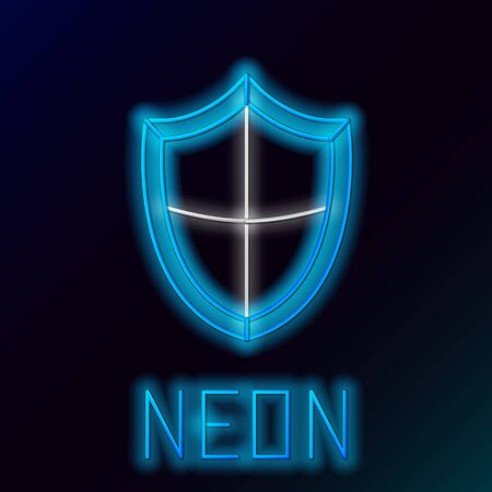 Blue glowing neon line Shield icon isolated on black background. Guard sign. Security, safety, protection, privacy concept. Colorful outline concept. Vector Illustration