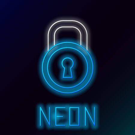 Blue glowing neon line Lock icon isolated on black background. Padlock sign. Security, safety, protection, privacy concept. Colorful outline concept. Vector Illustration