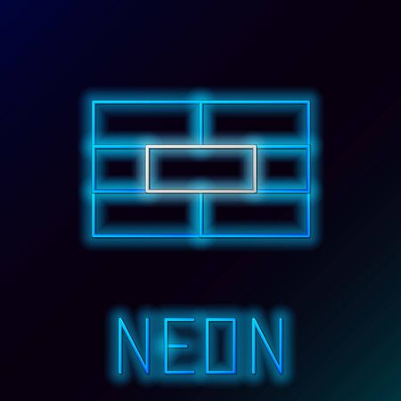 Blue glowing neon line Bricks icon isolated on black background. Colorful outline concept. Vector Illustration