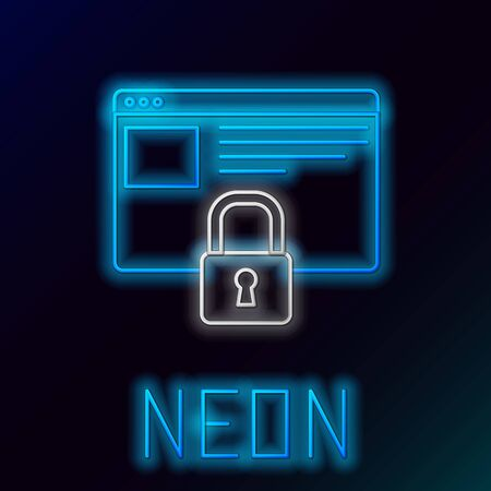 Blue glowing neon line Secure your site with HTTPS, SSL icon isolated on black background. Internet communication protocol. Colorful outline concept. Vector Illustration