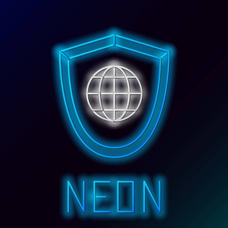 Blue glowing neon line Shield with world globe icon isolated on black background. Security, safety, protection, privacy concept. Colorful outline concept. Vector Illustration