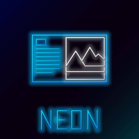 Blue glowing neon line Postcard icon isolated on black background. Colorful outline concept. Vector Illustration