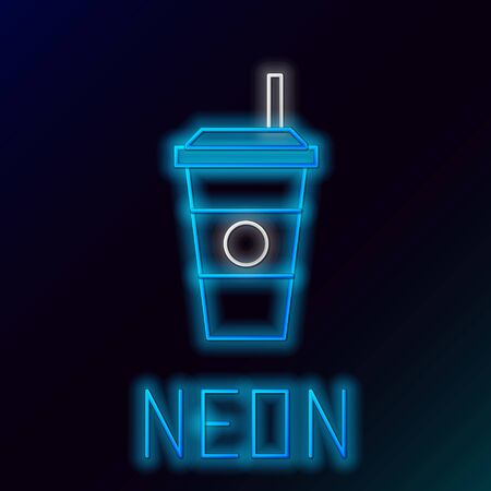 Blue glowing neon line Coffee cup icon isolated on black background. Disposable coffee cup with hot coffee. Colorful outline concept. Vector Illustration