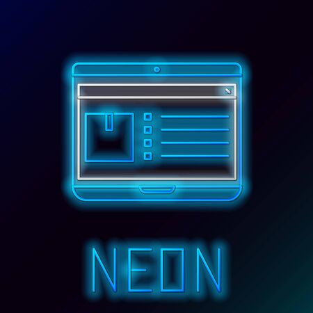 Blue glowing neon line Laptop with app delivery tracking icon isolated on black background. Parcel tracking. Colorful outline concept. Vector Illustration Vetores