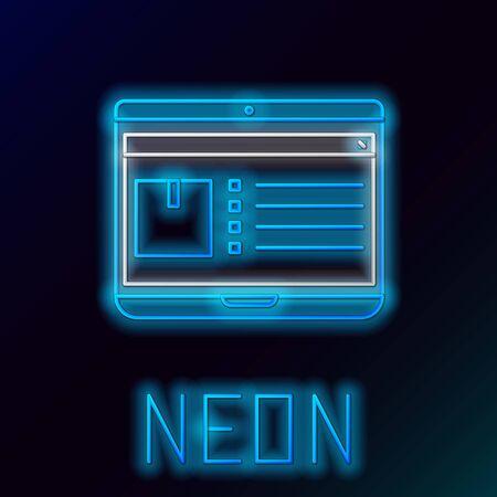 Linea al neon blu incandescente Computer portatile con icona di tracciamento consegna app isolato su sfondo nero. Tracciamento pacchi. Concetto di contorno colorato. illustrazione vettoriale Vettoriali