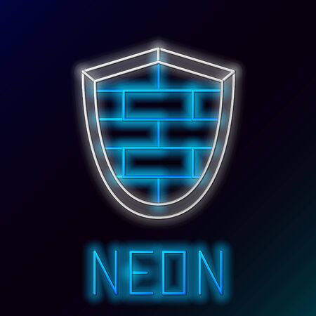 Blue glowing neon line Shield with cyber security brick wall icon isolated on black background. Data protection symbol. Firewall logo. Network protection. Colorful outline concept. Vector Illustration