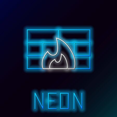 Blue glowing neon line Firewall, security wall icon isolated on black background. Colorful outline concept. Vector Illustration