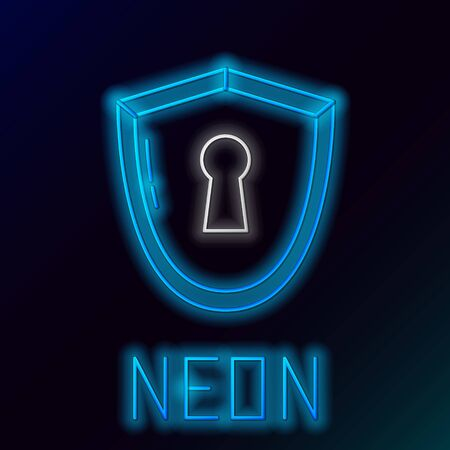 Blue glowing neon line Shield with keyhole icon on black background. Protection, security concept. Safety badge icon. Privacy banner. Defense tag. Colorful outline concept. Vector Illustration