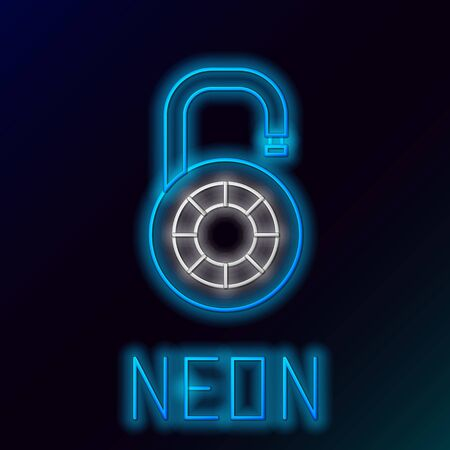 Blue glowing neon line Safe combination lock wheel icon on black background. Combination padlock. Security, safety, protection, password, privacy. Colorful outline concept. Vector Illustration Illustration
