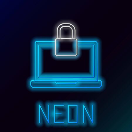 Blue glowing neon line Laptop and lock icon isolated on black background. Computer and padlock. Security, safety, protection concept. Safe internetwork. Colorful outline concept. Vector Illustration