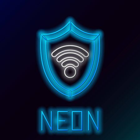 Blue glowing neon line Shield with WiFi wireless internet network symbol icon isolated on black background. Protection safety concept. Colorful outline concept. Vector Illustration Illustration