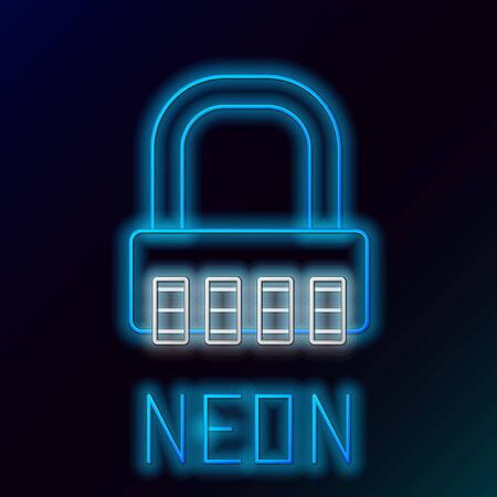 Blue glowing neon line Safe combination lock icon isolated on black background. Combination padlock. Security, safety, protection, password, privacy. Colorful outline concept. Vector Illustration Illustration