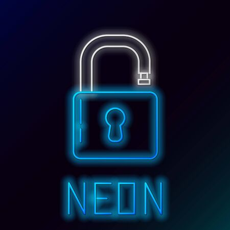 Blue glowing neon line Open padlock icon isolated on black background. Opened lock sign. Cyber security concept. Digital data protection. Safety safety. Colorful outline concept. Vector Illustration