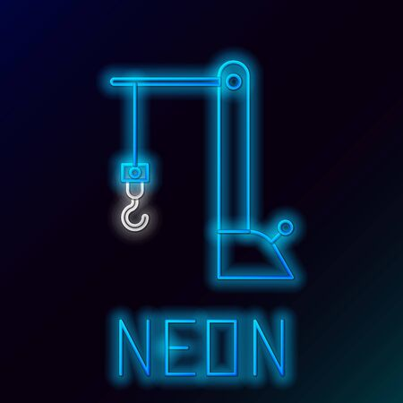Blue glowing neon line Harbor port crane icon isolated on black background. Cargo crane tower. Colorful outline concept. Vector Illustration Banque d'images - 133581350