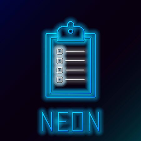 Blue glowing neon line Verification of delivery list clipboard icon isolated on black background. Colorful outline concept. Vector Illustration