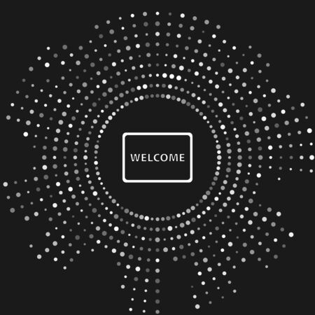 White Doormat with the text Welcome icon isolated on grey background. Welcome mat sign. Abstract circle random dots. Vector Illustration Ilustração