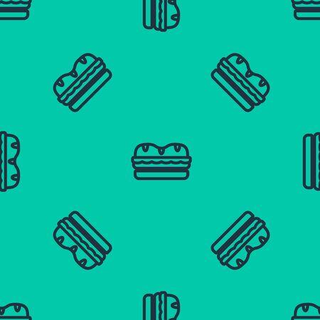 Blue line Sandwich icon isolated seamless pattern on green background. Hamburger icon. Burger food symbol. Cheeseburger sign. Street fast food menu. Vector Illustration 矢量图像