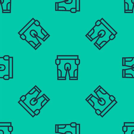 Blue line American football shorts icon isolated seamless pattern on green background. Football uniform sign. Vector Illustration