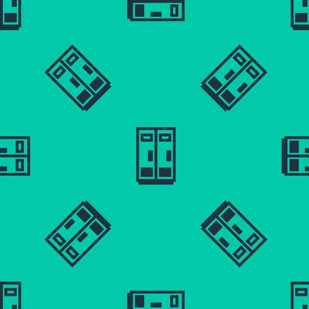 Blue line Locker or changing room for football, basketball team or workers icon isolated seamless pattern on green background. Vector Illustration Ilustração