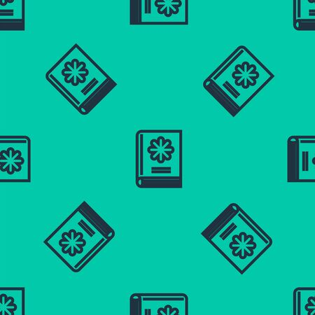 Blue line Medical book icon isolated seamless pattern on green background. Vector Illustration