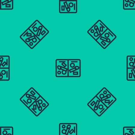 Blue line Passport pages with visa stamps icon isolated seamless pattern on green background. Opened foreign passport with custom visa stamps. Travel concept. Vector Illustration