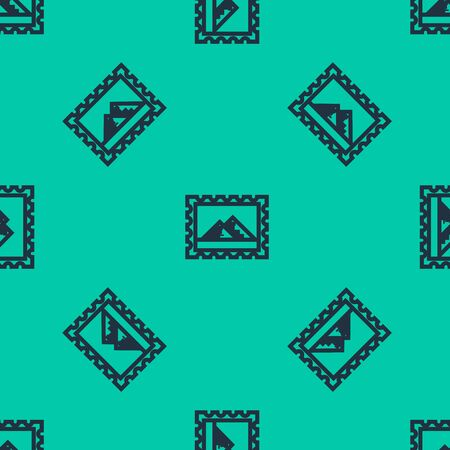 Blue line Postal stamp and Egypt pyramids icon isolated seamless pattern on green background. Vector Illustration