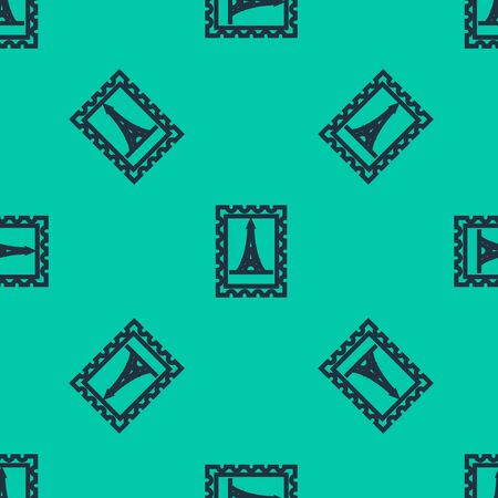 Blue line Postal stamp and Eiffel tower icon isolated seamless pattern on green background. Vector Illustration