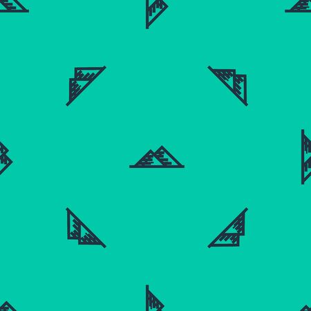 Blue line Egypt pyramids icon isolated seamless pattern on green background. Symbol of ancient Egypt. Vector Illustration