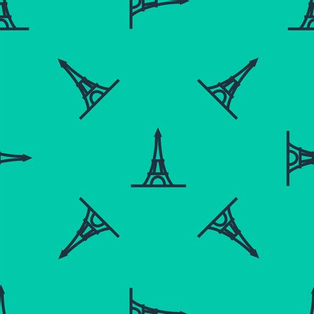 Blue line Eiffel tower icon isolated seamless pattern on green background. France Paris landmark symbol. Vector Illustration