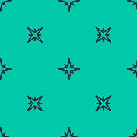 Blue line Wind rose icon isolated seamless pattern on green background. Compass icon for travel. Navigation design. Vector Illustration