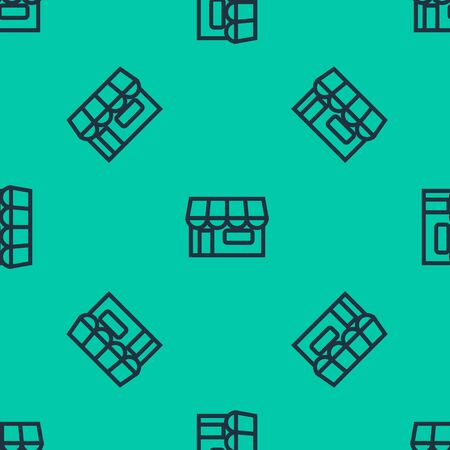 Blue line Shopping building or market store icon isolated seamless pattern on green background. Shop construction. Vector Illustration Ilustracja