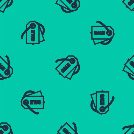 Blue line Price tag with an inscription Sale icon isolated seamless pattern on green background. Badge for price. Promo tag discount. Vector Illustration  イラスト・ベクター素材
