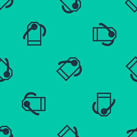 Blue line Blank label template price tag icon isolated seamless pattern on green background. Empty shopping discount sticker. Template discount banner. Vector Illustration Illusztráció