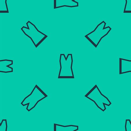 Blue line Woman dress icon isolated seamless pattern on green background. Clothes sign. Vector Illustration