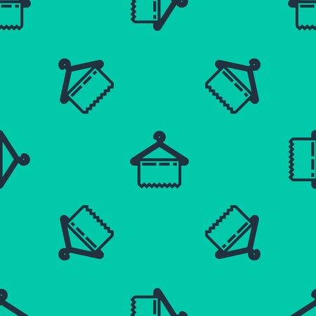 Blue line Hanger wardrobe icon isolated seamless pattern on green background. Clean towel sign. Cloakroom icon. Clothes service symbol. Laundry hanger sign. Vector Illustration Ilustracja