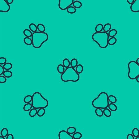 Blue line Paw print icon isolated seamless pattern on green background. Dog or cat paw print. Animal track. Vector Illustration
