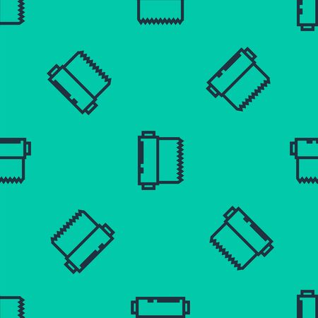 Blue line Textile fabric roll icon isolated seamless pattern on green background. Roll, mat, rug, cloth, carpet or paper roll icon. Vector Illustration 写真素材 - 133603059