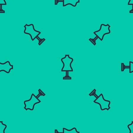 Blue line Mannequin icon isolated seamless pattern on green background. Tailor dummy. Vector Illustration Ilustracja