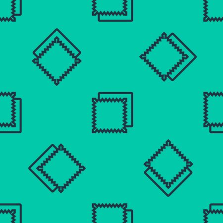 Blue line Textile fabric roll icon isolated seamless pattern on green background. Roll, mat, rug, cloth, carpet or paper roll icon. Vector Illustration  イラスト・ベクター素材