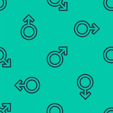 Blue line Male gender symbol icon isolated seamless pattern on green background. Vector Illustration