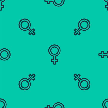 Blue line Female gender symbol icon isolated seamless pattern on green background. Venus symbol. The symbol for a female organism or woman. Vector Illustration Stock Illustratie