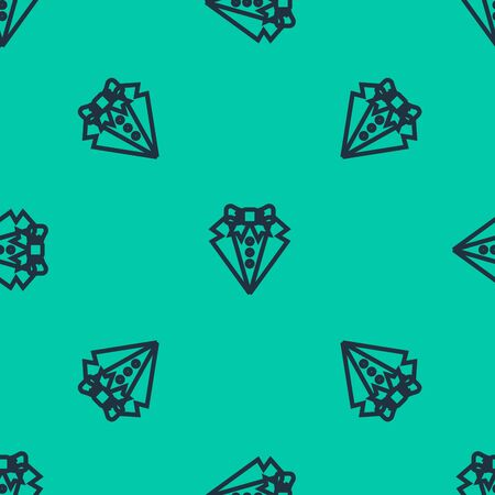 Blue line Suit icon isolated seamless pattern on green background. Tuxedo. Wedding suits with necktie. Vector Illustration