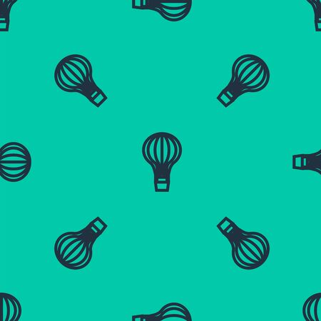 Blue line Hot air balloon icon isolated seamless pattern on green background. Air transport for travel. Vector Illustration Illusztráció
