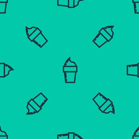Blue line Ice cream in waffle cone icon isolated seamless pattern on green background. Sweet symbol. Vector Illustration