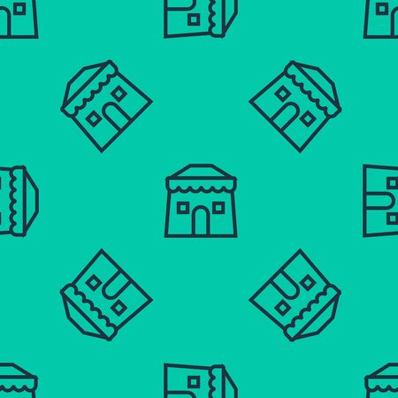 Blue line Circus tent icon isolated seamless pattern on green background. Carnival camping tent. Amusement park. Vector Illustration Иллюстрация