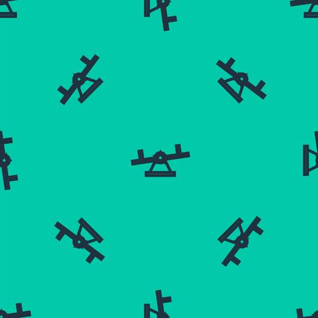 Blue line Seesaw icon isolated seamless pattern on green background. Teeter equal board. Playground symbol. Vector Illustration Illustration