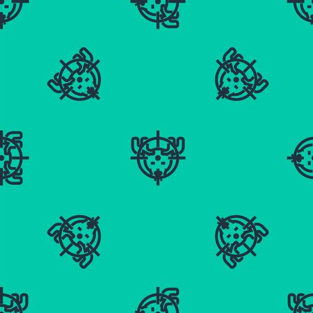 Blue line Hunt on moose with crosshairs icon isolated seamless pattern on green background. Hunting club logo with moose and target. Rifle lens aiming a moose. Vector Illustration