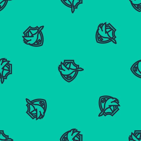 Blue line Flying duck on shield icon isolated seamless pattern on green background. Hunting trophy on wall. Vector Illustration