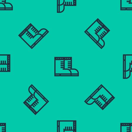 Blue line Hunter boots icon isolated seamless pattern on green background. Vector Illustration